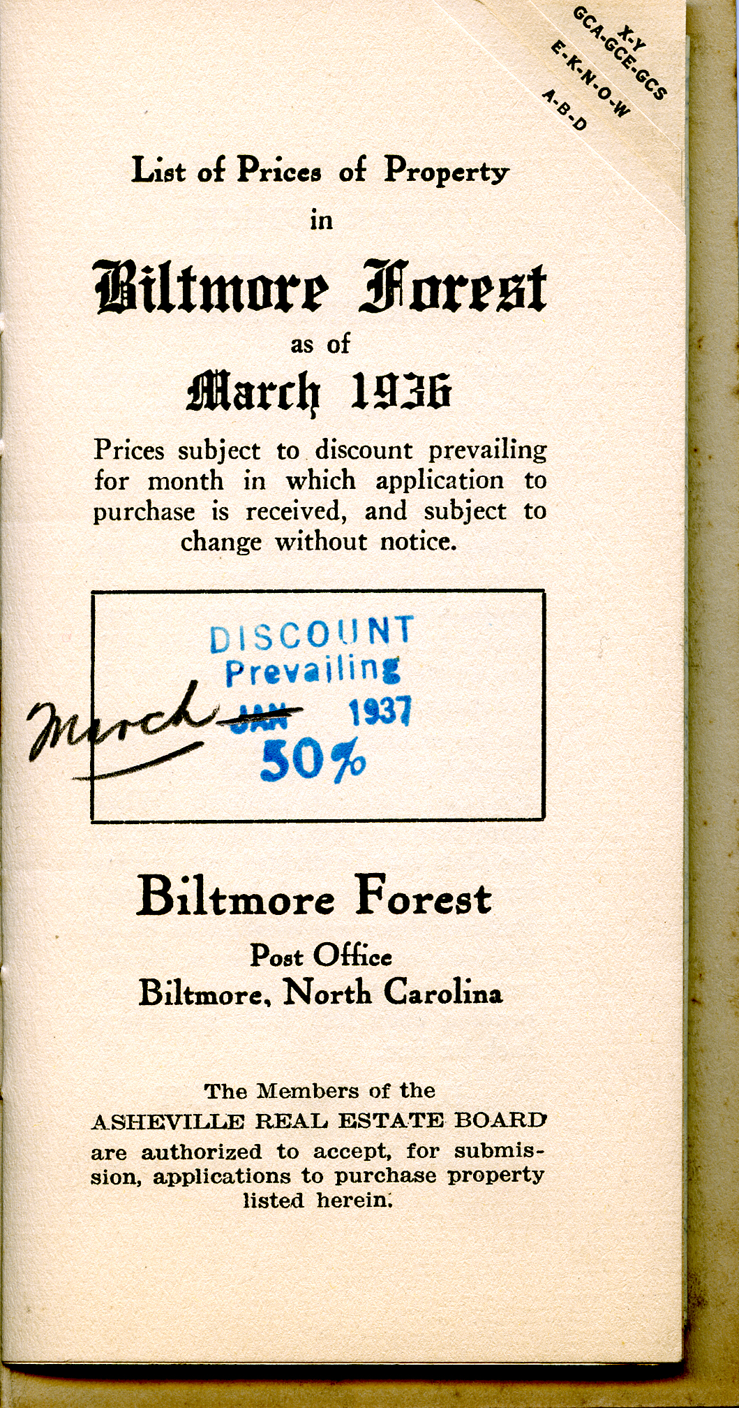 BILTMORE FOREST March 1936 List of Property