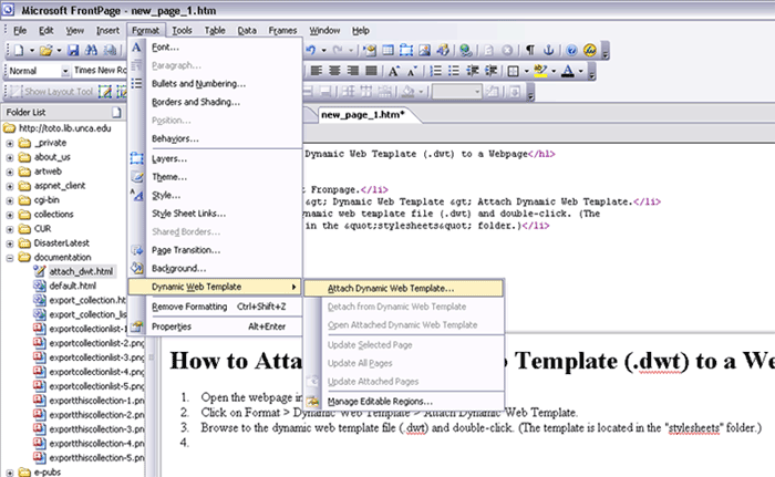 Attach A Dynamic Web Template To A Webpage - Dynamic web template